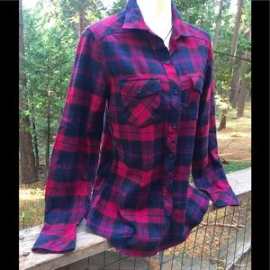Kyoto klothing button front burgundy plaid top